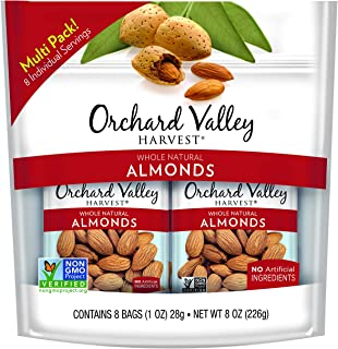 ORCHARD VALLEY HARVEST Whole Natural Almonds, Non-GMO, No Artificial Ingredients, 1 oz (Pack of 8)