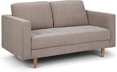 Simpli Home Blaine Mid Century Modern 62 inch Wide Sofa Loveseat in Light Warm Grey Chenille Look Fabric