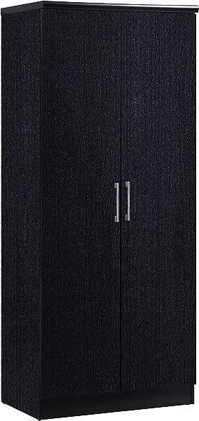 Hodedah 2 Door Wardrobe With Adjustable Removable Shelves Hanging Rod Black