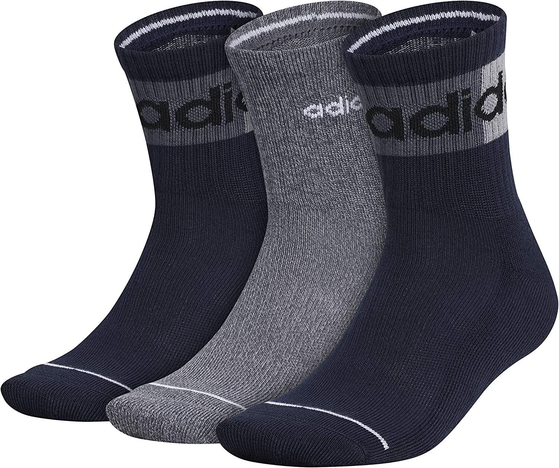 adidas Men's Blocked Linear High Quarter Socks (3-pair)