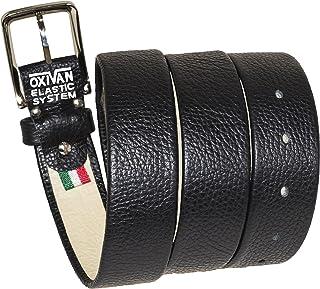 OXIVAN Cintura da uomo taglie forti in pelle nera con SISTEMA ELASTICO BREVETTATO made in Italy 35 mm.