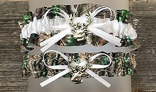 Camouflage White Satin Camo Wedding Bridal Garter SET - Deer Head Charm