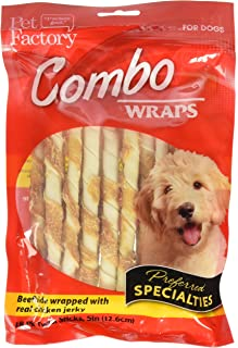Pet Factory Rawhide Twist Sticks Wrapped With Chicken Meat Chews For Dogs (18 Pack), Small/5