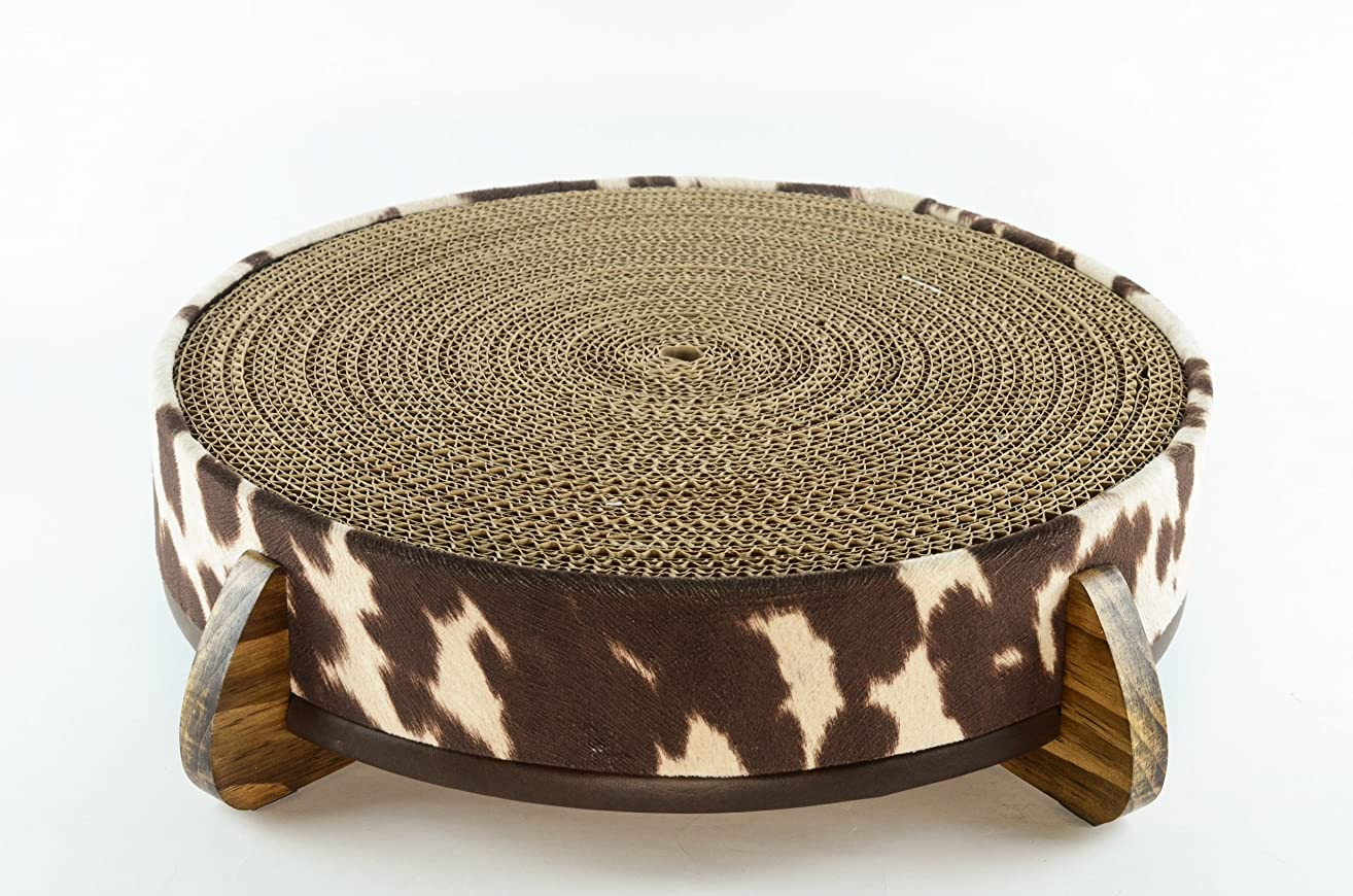 Cat Scratcher and Cat Bed - (Rawhide like) Fabric cover, handcrafted wood legged base, and large long-lasting replaceable cardboard insert