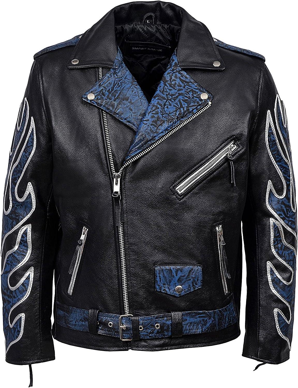 Classic Brando Black Blue Flame Men's Motorcycle Biker Hide Real Leather Jacket