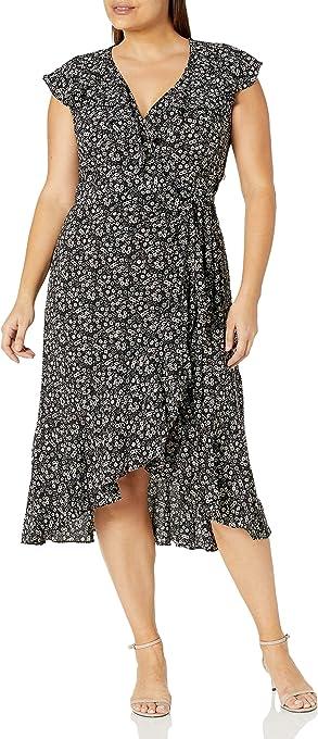 Max Studio Women's Plus Size Ruffle Wrap Midi Dress