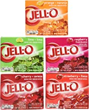 Jell-O Variety Pack Orange Cherry Lime Strawberry Raspberry 6 oz (5-Pack)