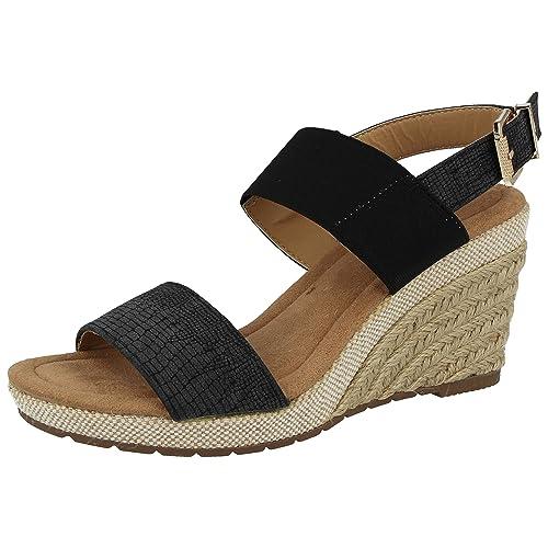 b5f5cb941b66 Ladies Faux Leather Mid Wedge Raffia Snake PU Fashion Sling Back Peep Toe Summer  Sandals Shoes