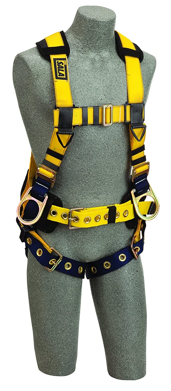 フィット切断する軸3M DBI-SALA Delta 1106403 Full Body Iron Worker Harness, Back/Side D-Rings, Belt W/ Adj. Support Straps/Pad, Shoulder Pads, Tongue Buckle Leg Straps, Small, Yellow/Navy by 3M Fall Protection Business