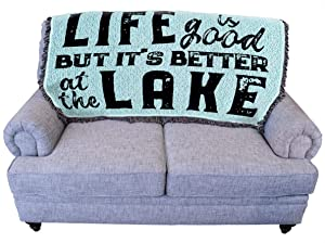 Life is Better at The Lake - Teal - for Back of Couch or Sofa - Cotton Woven Blanket Throw - Made in The USA (61x36)
