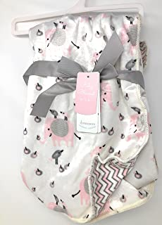 Dreamers Pink/Gray Bird and Elephant Baby Blanket | 30 X 40 in