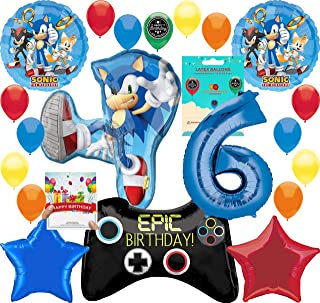 Sonic the Hedgehog Party Supplies Gamers 6th Birthday Balloon Decoration Bundle with Birthday Card by RAPIDNGUARANTEED