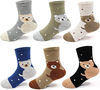 Boys Winter Thick Cotton Socks Kids Warm Lovely Bear Socks 6 Pack