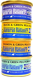 Natural Balance Limited Ingredient Diet Grain Free Cat Food Variety Pack - 4 Flavors (Salmon & Green Pea, Venison & Green Pea, Duck & Green Pea, and Chicken & Green Pea Formula) - 3 Ounce Each (12 Cans Total)