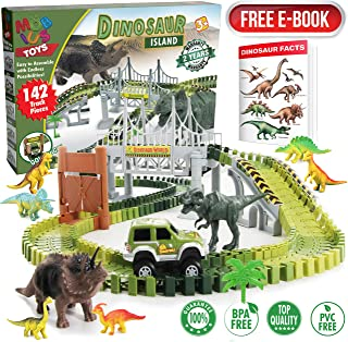 Dinosaur Toy Race Tracks for Boys and Girls - 160 Piece Flexible Assembly Train Tracks Set with Jumbo Toy Dinosaurs, Dinosaur Race Car Track Train Truck for Kids Ages 3 4 5 6 7 8 Years Old
