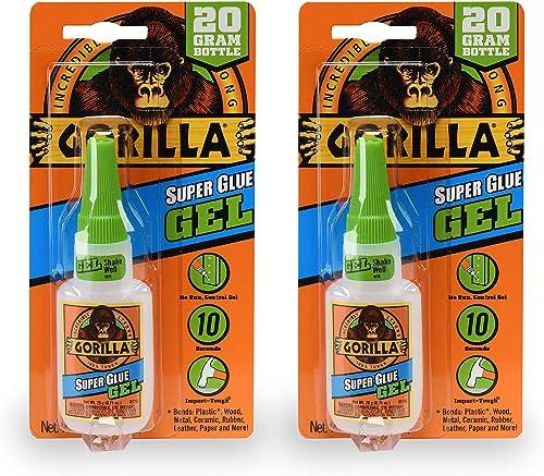 Gorilla 7700111 20 Gram 2-Pack Super Glue Gel, Clear