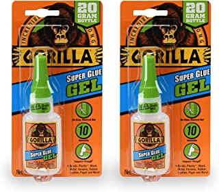 Gorilla Super Glue Gel, 20 gram, Clear, (Pack of 2)