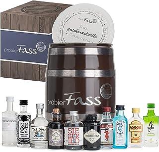 probierFass Gin Set | 10 originale Gin Miniaturen 8 x 0.05 l und 2 x 0.04 l verpackt in einem originellen Fass mit Geschenkverpackung | Gin Geschenk | Gin Probierset | Gin Geschenkset