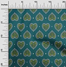 oneOone Cotton Poplin Fabric Floral Block Printed Fabric 1 Yard 42 Inch Wide