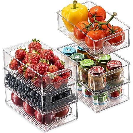 Juego de 6 cubos de almacenamiento para refrigerador, apilables para refrigerador, con asas de recorte para congelador, cocina, encimeras, armarios – estante de almacenamiento de alimentos de plástico transparente