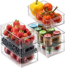 Set Of 6 Refrigerator Organizer Bins - Stackable Fridge Organizers with Cutout Handles for Freezer, Kitchen, Countertops, ...