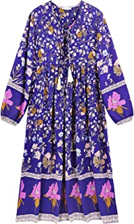 R.Vivimos Women's Floral Print Retro Long Sleeve Dresses