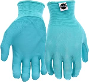 West Chester Miracle-Gro MG37164 Stretch Knit Gardening Gloves with Polyurethane Coated Palm: Aqua, Women's Medium/Large, 1 Pair