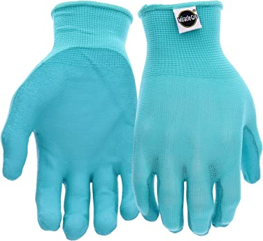 West Chester Miracle-Gro MG37164 Stretch Knit Gardening Gloves with Polyurethane Coated Palm: Aqua, Women's Medium/Large,