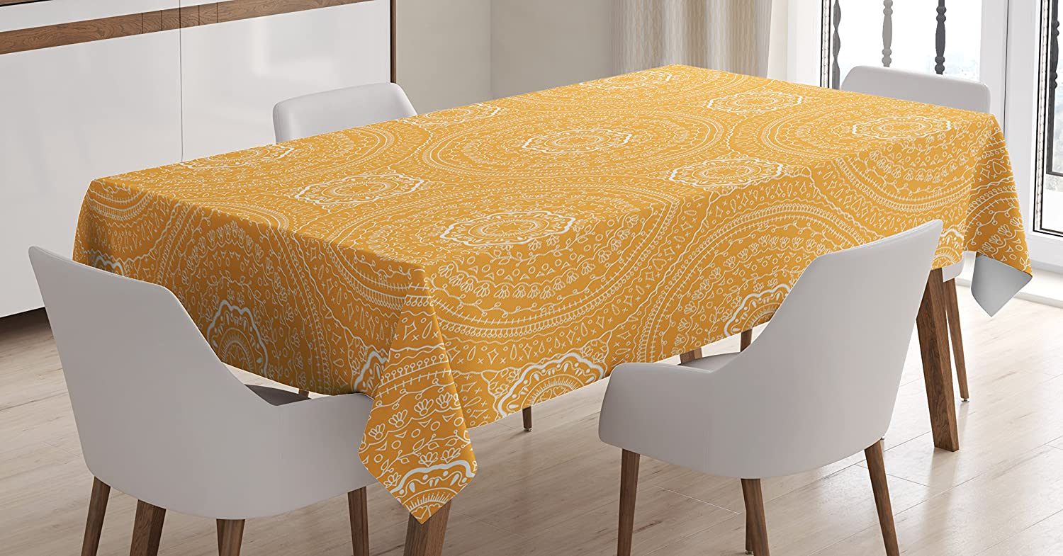 Ambesonne Yellow Mandala Tablecloth Delicate Ranking TOP11 shipfree Paisley in Thin Fl