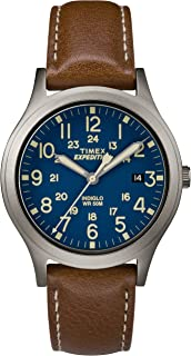 Timex Men's Quartz Watch, Analog Display and Leather Strap TW4B11100