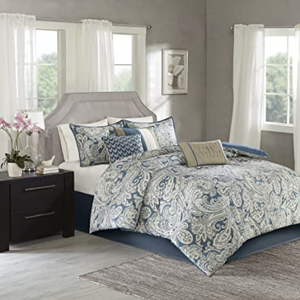 Madison Park Gabby 7 Piece Comforter Set Blue Queen