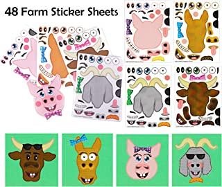 Make A Sticker Sheets (4.5 x 6.5 inches) - Great for Kid's Stocking Stuffers, Easter Basket Stuffers, Party Favors, Travel Activities for Kids (48 Sticker Sheets, Make-A-Farm Animal)