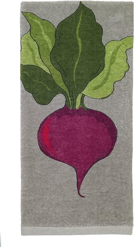 All Clad Textiles 100 Percent Cotton Fiber Reactive Beet Print Kitchen Towel 17 Inch X 30 Inch Titanium Grey