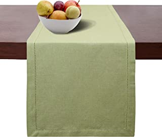 Cotton Clinic Hemstitch Farmhouse Table Runner 72 Inch, 16x72 Cotton Wedding Table Runner, Rustic Bridal Shower Decor Dining Table Runner with Mitered Corners & Generous Hem, Sage Green