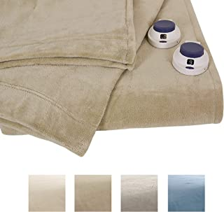 Serta | Luxe Plush Fleece Heated Electric Blanket with Safe & Warm Low-Voltage Technology, King, Pearl