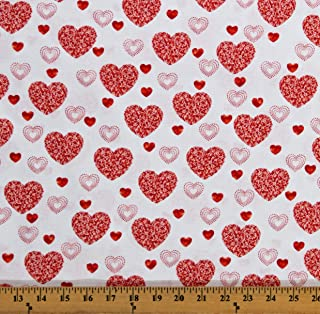 Valentine Love Red and White Heart Striped Cotton Fabric