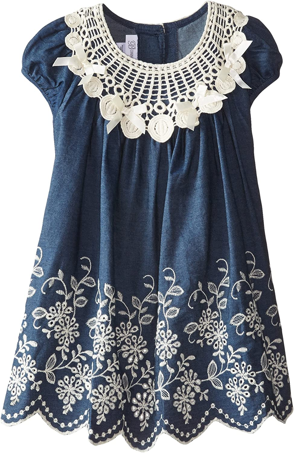 Bonnie Jean Baby Girls' Denim OFFicial shop Embroidered Border Dress 2021 new
