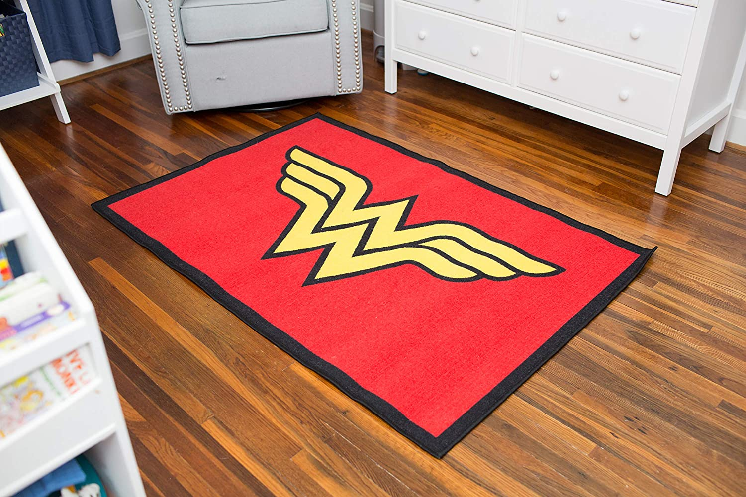 Wildkin 39x58 Inch Rug, Features Durable Design, Vibrant colors, and Skid-Proof Backing, Coordinates with Other Superhero Gear – Wonder Woman