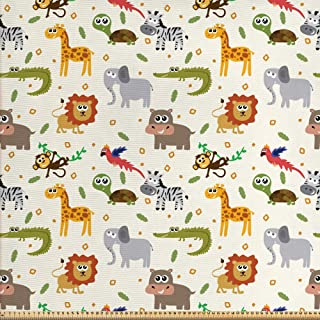 ABAKUHAUS Animal De La Historieta Tela por Metro, Fauna İnfantiles, Decorativa para Tapicería y Textiles del Hogar, 1M (148x100cm), Multicolor
