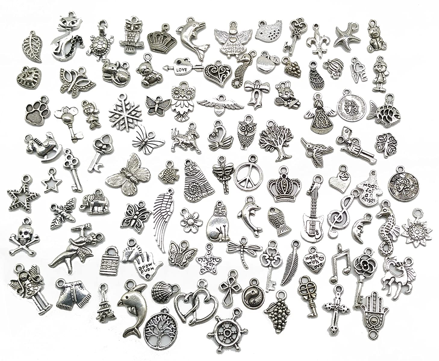 Pack of 100 Mixed DIY Antique Pendants Charms for Crafting,Bracelet Necklace Jewelry Findings Jewelry Making Accessory