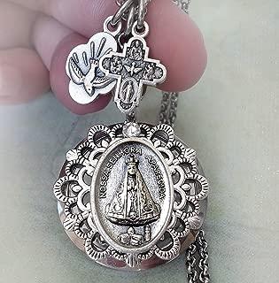 Nossa Senhora Aparecida Locket Necklace, Our Lady of Aparecida, Virgin Mary, Patroness of Brazil
