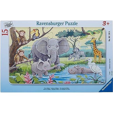 Ravensburger- Puzzle Cadre 15 pièces-Animaux d'Afrique Enfant, 4005556061365