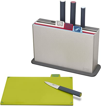 Joseph Joseph 60096 Index Plastic Cutting Board Set with 4 Matching Knives and Storage Case Color-Coded Dishwasher-Safe Non-Slip, Small, Silver