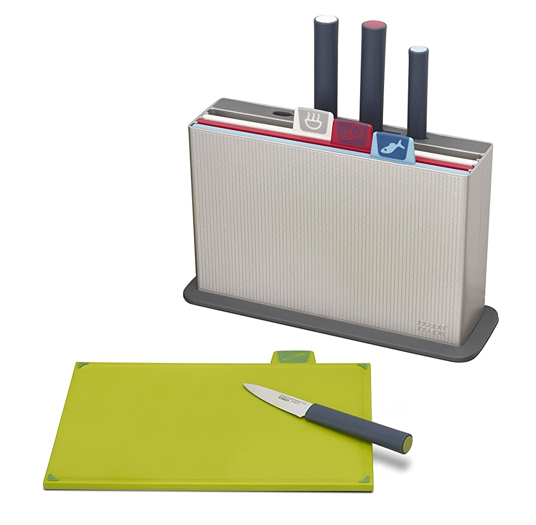 Joseph Joseph 60096 Index Plastic Cutting Board Set with 4 Matching Knives and Storage Case Color-Coded Dishwasher-Safe Non-Slip, Small, Silver pthx44865