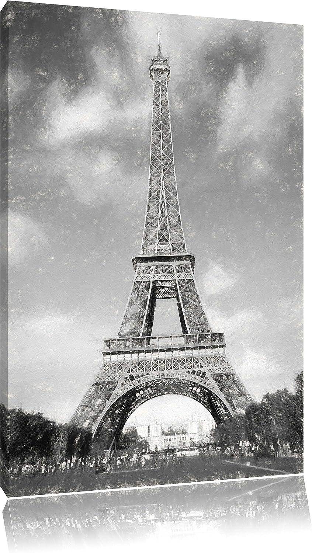 Eifelturm in Paris Kohle Effekt, Format  120x80 auf auf auf Leinwand, XXL riesige Bilder fertig gerahmt mit Keilrahmen, Kunstdruck auf Wandbild mit Rahmen, günstiger als Gemälde oder Ölbild, kein Poster oder Plakat B01JAE39I6 b82325