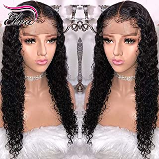 360 Lace Frontal Wig 180% Density Pre-Plucked Hairline 360 Lace Front Brazilian Remy Human Hair Wig Curly Hair Wig for Black Women (14inch with 180% density)