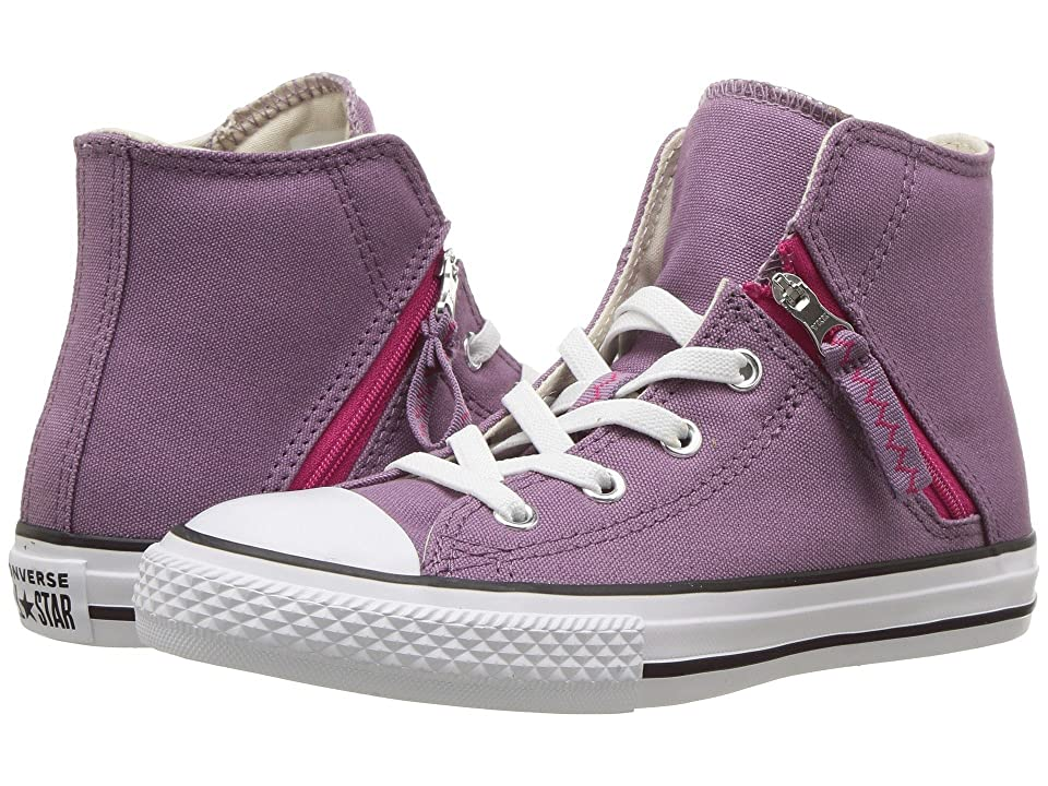 Converse Kids Chuck Taylor(r) All Star(r) Pull-Zip Hi (Little Kid/Big Kid) (Violet Dust/Pink Pop/White) Girl