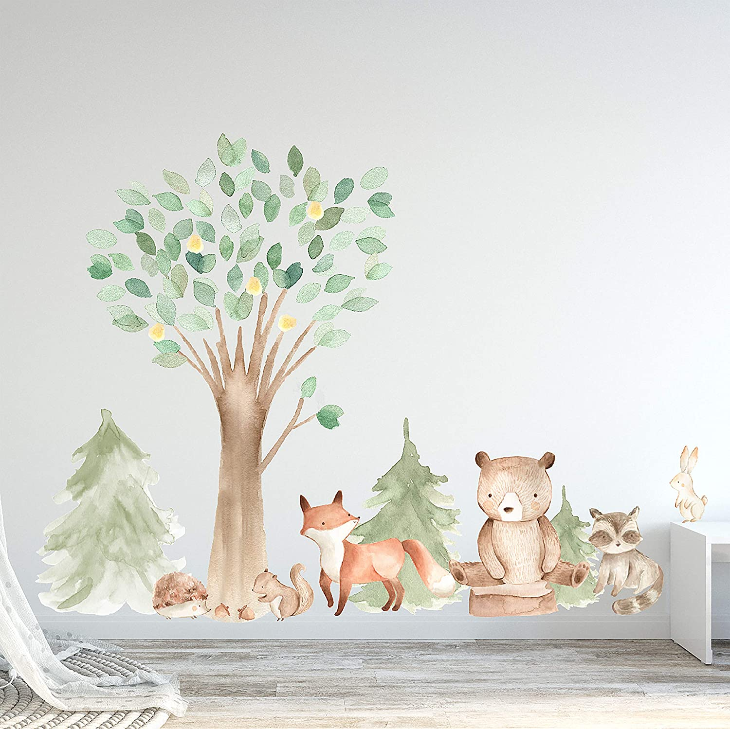 Woodland Watercolor Wall Decal New color Oak Creatures Pine Beauty products Tree - Animal