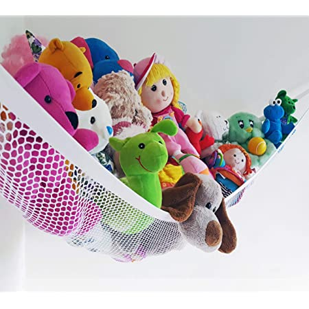Expands to 6 feet 2020 Upgraded Stuffed Animal Hammock Baby Nursery Room Hanging Toy Storage Net with Extra Large Design Blue Corner Hanging Holder and Great Decor for Kids Bedroom