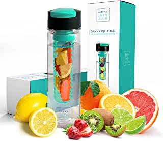 Savvy Infusion Flip Top Fruit Infuser Water Bottle - 24 Ounce - Unique Leak Proof Lid - Great Gifts for Women - Includes B...